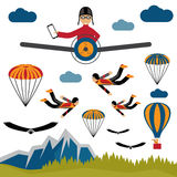 Selfie pilot flat design illustration Royalty Free Stock Images