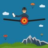 Selfie pilot flat design illustration. Extreme selfie pilot flat design illustration Stock Photo