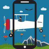 Selfie pilot flat design illustration. Extreme selfie pilot flat design illustration Royalty Free Stock Photo