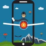 Selfie pilot flat design illustration Royalty Free Stock Photography
