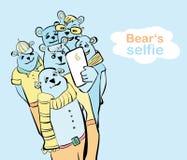 Selfie pintado a mano del oso muchos osos hacen la foto del uno mismo Foto de archivo libre de regalías