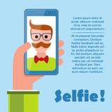 Selfie-Plakat mit dem Hippie, der Smartphonevektor hält stock abbildung