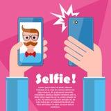 Selfie-Plakat mit dem Hippie, der Smartphonevektor hält Lizenzfreie Stockfotos