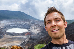 Selfie with the Poas Volcano in the background stock image