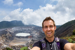 Selfie with the Poas Volcano in the background stock photos