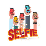 Selfie por el teléfono con diseño de letras - Fotos de archivo