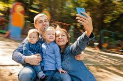 Selfie Portrait Family Stock Image