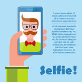 Selfie poster with hipster holding smartphone vector. Stock Image