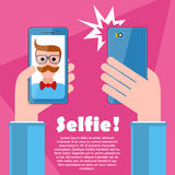 Selfie poster with hipster holding smartphone vector. Royalty Free Stock Photos