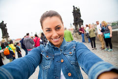 Selfie in Praag stock fotografie