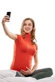 Selfie pregnant Stock Photo