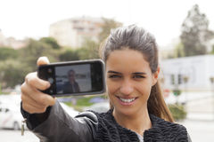 Selfie Pretty Woman Royalty Free Stock Photography