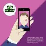 Selfie projekta płaska ilustracja Ilustracja Wektor