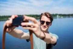 Selfie przy jeziorem Fotografia Stock