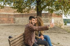 Selfie in the public park royalty free stock photo