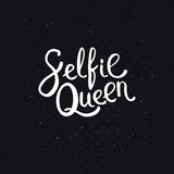 Selfie Queen Texts on Abstract Black Background. Selfie Queen Texts in Simple White Font Style on an Abstract Black Background with Dots Stock Image