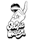 Selfie queen. Vector handwritten lettering made in 90`s style. Hand drawn illustration of female mouth with hand.  Template for card, poster, banner, label Royalty Free Stock Images