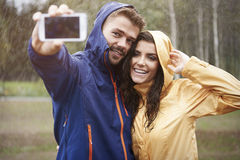 Selfie in rainy day Stock Images