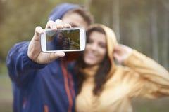 Selfie in regenachtige dag Royalty-vrije Stock Foto's