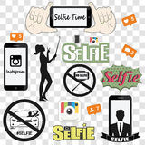 Selfie related vector icons set stock illustration