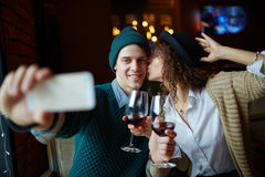 Selfie in restaurant Stock Images