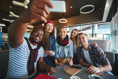 Selfie of restful friends Stock Photo
