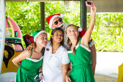 Selfie with Santa Claus and elvs. Selfie with Santa Claus and elfs Stock Photography