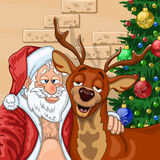 Selfie of  Santa Claus with  reindeer Royalty Free Stock Photo
