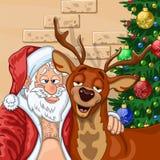 Selfie of  Santa Claus with  reindeer Royalty Free Stock Photo