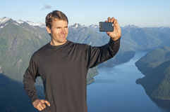 Selfie of scenic mountain view Royalty Free Stock Photography