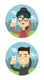 Selfie schoot man en vrouwen vlakke illustratie Vector die een selfiemensen nemen Stock Fotografie