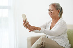 Selfie of senior woman Royalty Free Stock Photos