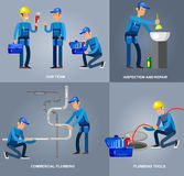 Selfie shots family and couples vector. Detailed character proffesional plumber men set , plumber repair professional, plumber fixing water pipes. Vector plumber Royalty Free Stock Photos