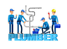 Selfie shots family and couples vector. Detailed character proffesional plumber men set , plumber repair professional, plumber fixing water pipes. Vector plumber Royalty Free Stock Photography