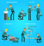 Selfie shots family and couples vector. Detailed character proffesional plumber men set , plumber repair professional, plumber fixing water pipes. Vector plumber Royalty Free Stock Images