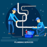Selfie shots family and couples vector. Detailed character proffesional plumber men set , plumber repair professional, plumber fixing water pipes. Vector plumber Royalty Free Stock Photo