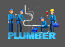 Selfie shots family and couples vector. Detailed character proffesional plumber men set , plumber repair professional, plumber fixing water pipes. Vector plumber Stock Image