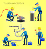 Selfie shots family and couples vector. Detailed character proffesional plumber repair, fixing water pipes. Vector set Illustration Royalty Free Stock Images