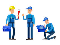 Selfie shots family and couples vector. Detailed character proffesional plumber repair, fixing water pipes. Vector set Illustration Stock Photos
