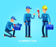Selfie shots family and couples vector. Detailed character proffesional plumber repair, fixing water pipes. Vector set Illustration Stock Photo