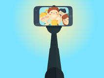Selfie shots young teenager school girls and boys. Royalty Free Stock Images