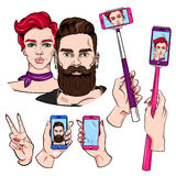 Selfie Sketches Set Stock Photo