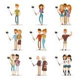 Selfie skottfamilj och parvektor Royaltyfri Foto