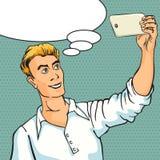 Selfie on smartphone. Retro style pop art Royalty Free Stock Photo
