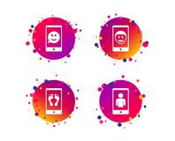 Selfie smile face icon. Smartphone video call. Vector. Selfie smile face icon. Smartphone video call symbol. Self feet or legs photo. Gradient circle buttons vector illustration