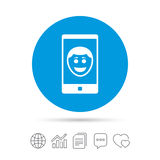 Selfie smile face sign icon. Self photo symbol. Royalty Free Stock Photography