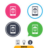 Selfie smile face sign icon. Self photo symbol. Royalty Free Stock Images