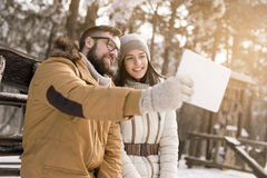 Selfie in the snow Royalty Free Stock Image