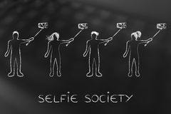 Selfie society people taking self-portraits Stock Photography