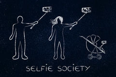 Selfie society people taking self-portraits Stock Photo